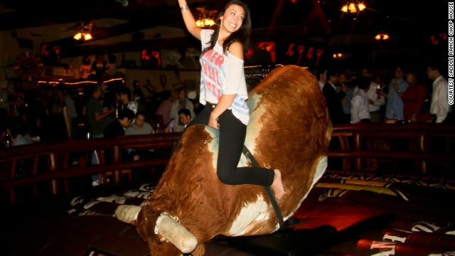 Mechanical bull at Los Angeles' Saddle Ranch Chop House