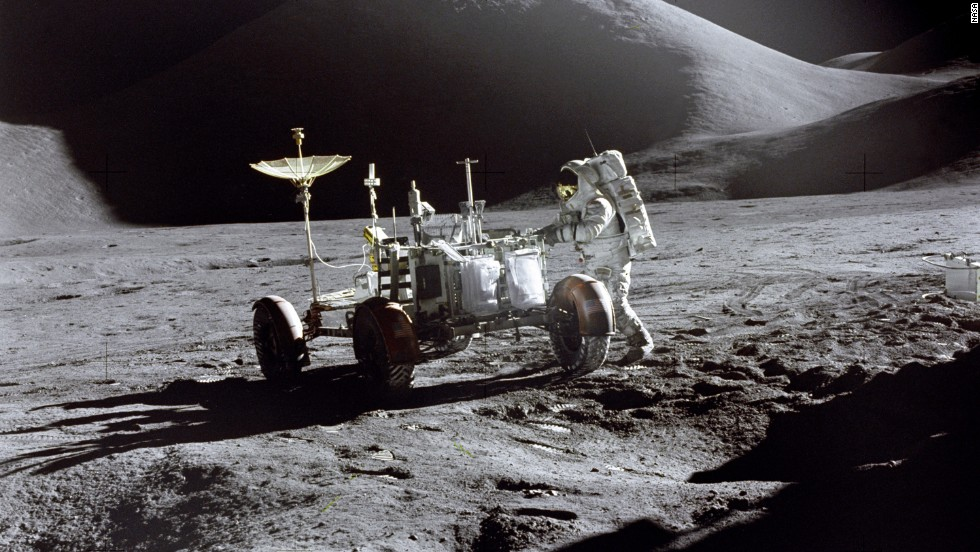 Since humanity took its first steps on the moon in 1969, only 12 men have journeyed there. Now Google wants innovators from across the world to send a robot back to the lunar surface.  Apollo 15 astronaut James Irwin, pictured, with the first lunar rover in 1971.