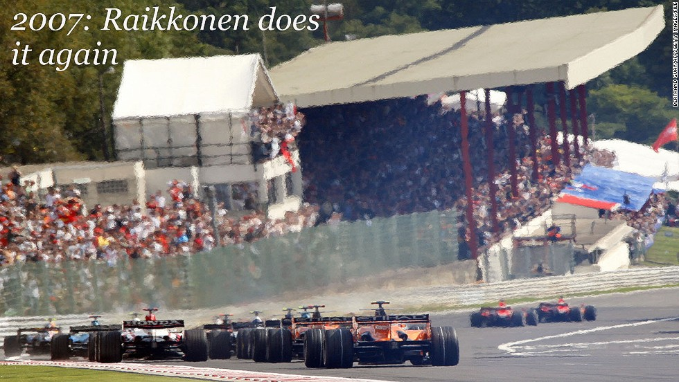 Kimi Raikkonen has enjoyed his time at Spa almost as much as Schumacher and Senna.<br /><br />The flying Finn, who returned to Ferrari this season, has won the Belgian Grand Prix four times, making him the joint third most successful driver in the race's history along with 1960s star Jim Clark.<br /><br />This 2007 triumph was his third in a row at Spa and helped him to that year's world title.