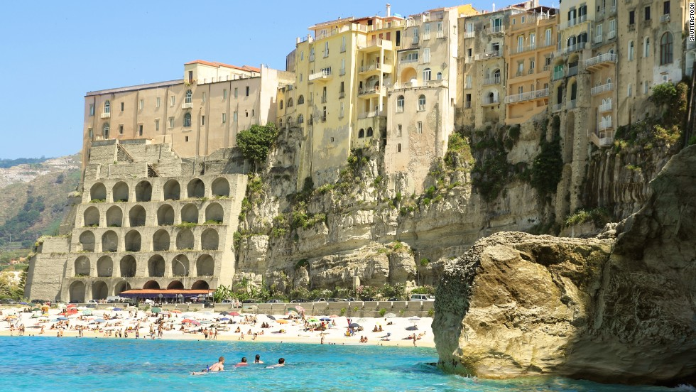 Not all coastal cliffs are remote and windswept. Along the Calabrian Coast, in the toe of Italy's boot, the clifftop town of Tropea looks down on the clear Tyrrhenian Sea.