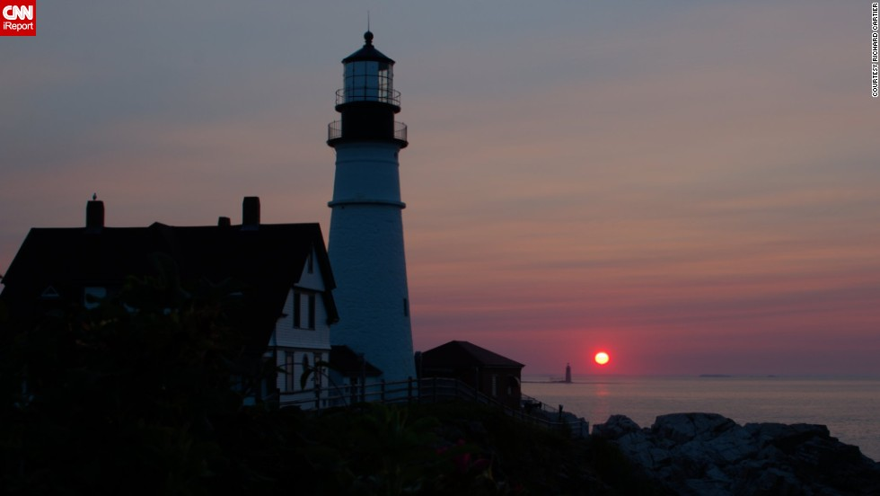 """Of the many lighthouses in Maine, <a href=""""http://ireport.cnn.com/docs/DOC-1157399"""">Richard Cartier </a>calls this one in Portland the """"most scenic"""" the state has to offer, making it a perfect subject. """"There are no obstructions anywhere within the photographic field of view, it stands looking directly eastward, providing the possibility for a spectacular sight when the sun rises, and the surrounding rocky coast can add a great element of adventure to the photos,"""" he said. He did make a few alterations to the photo afterward, combining three images and """"minor adjustments to the vibrancy and contrast."""""""