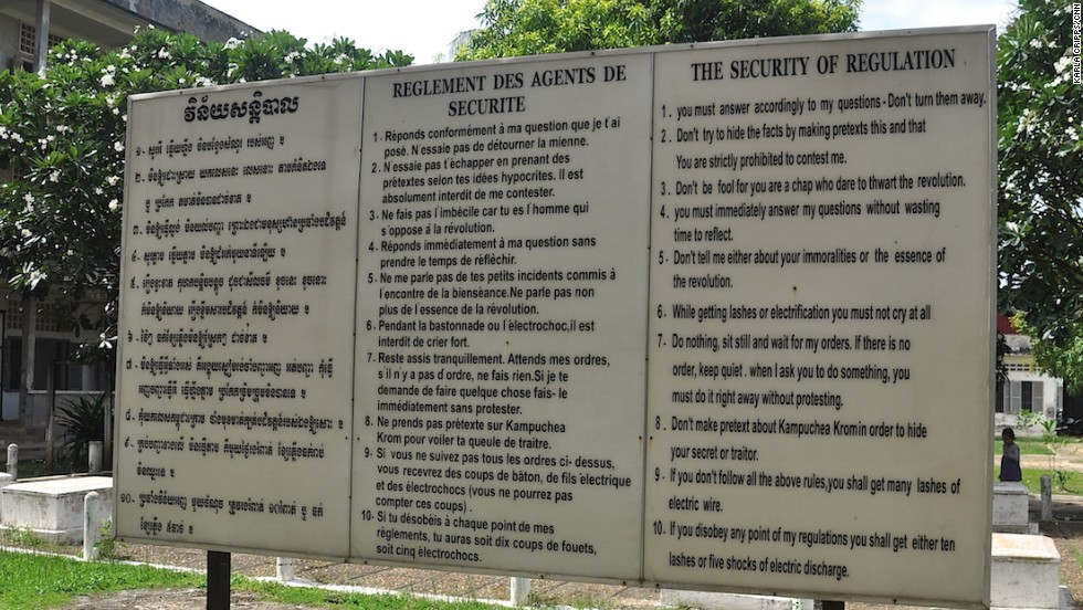 """While getting lashes or electrification you must not cry at all."" A display at the Tuol Sleng Genocide Museum shows the 10 rules prisoners were forced to follow at S-21 prison."