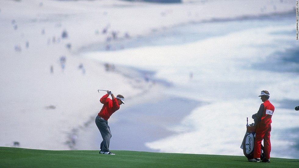 "This postcard picture on the eighth hole of the Pebble Beach course in Monterey, California, captured 1992 U.S. Open winner Tom Kite during the tournament's final round.<br /><br />Cannon is a scratch golfer himself so has more than a fair idea of what is going on in the minds of his subjects.<br /><br />""The eighth hole (at Pebble Beach) runs above and beside the stunning beach,"" he says. ""Kite hit his tee shot into the perfect spot for me to capture this unique image. <br /><br />""Nowadays, the modern professionals very rarely leave their tee shots in this position as they hit the ball much further, so it is probably a picture that will be really tough to get again."""