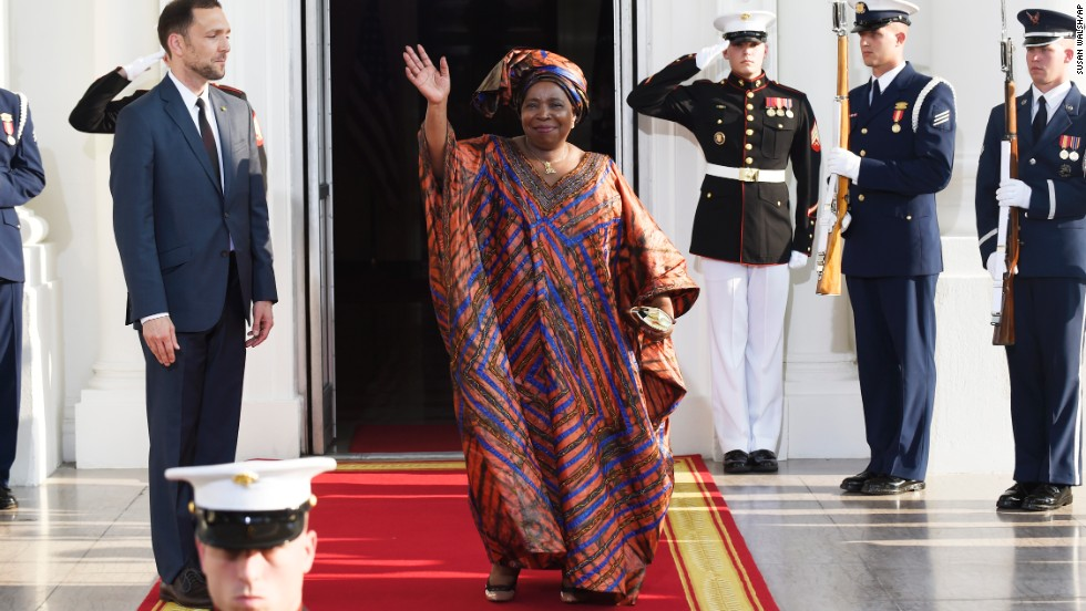 African Union Commission Chairperson Nkosazana Dlamini Zuma is greeted by U.S. Chief of Protocol Peter A. Selfridge on the North Portico of the White House.