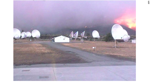 Smoke and fire close in on SETI's telescope array.