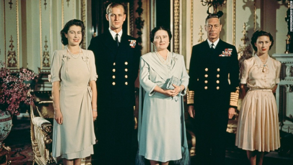 This portrait of the British royal family was taken in July 1947, after Princess Elizabeth, far left, got engaged to Prince Philip of Greece, a lieutenant in the British Navy. He is second from left. To his left are Queen Elizabeth, King George VI and Princess Margaret.