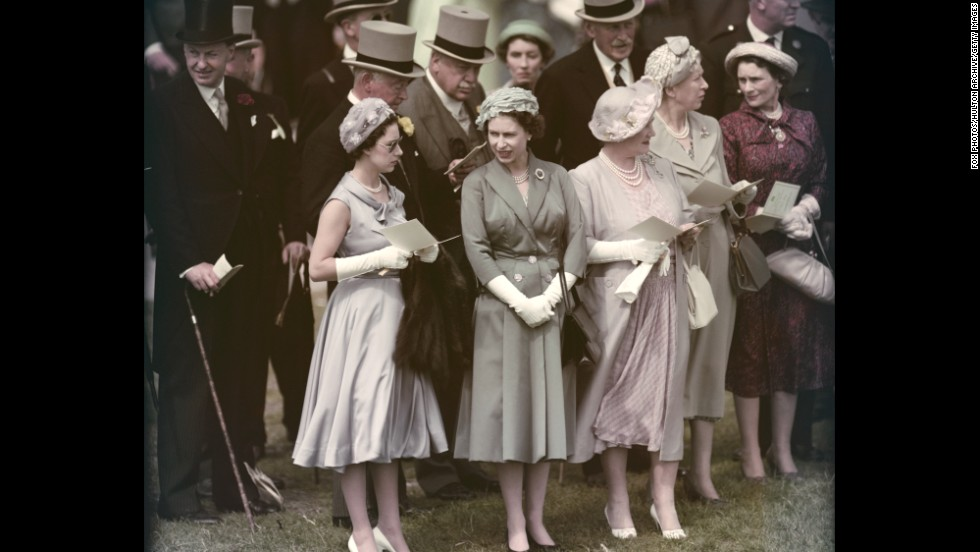 From left, Princess Margaret, Queen Elizabeth II and the Queen Mother visit Epsom Downs Racecourse in June 1958.