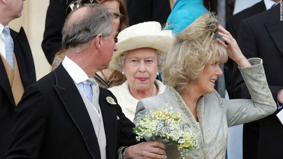 Prince Charles looks back at his mother after wedding Camilla, Duchess of Cornwall, in April 2005.