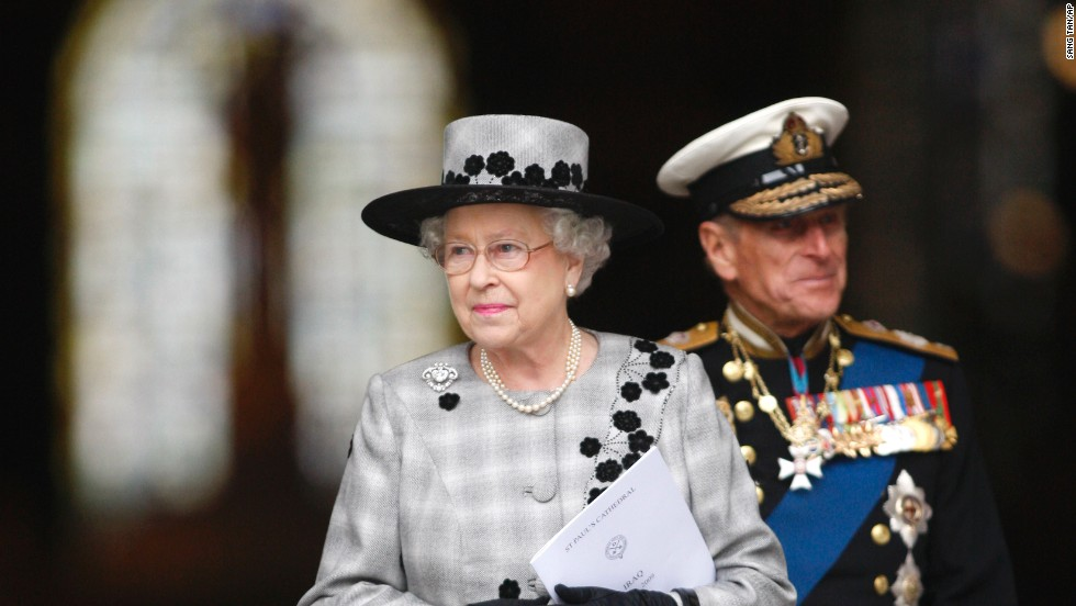 Queen Elizabeth II and Prince Philip leave London's St. Paul's Cathedral on October 9, 2009, following a commemoration service to mark the end of combat operations in Iraq.