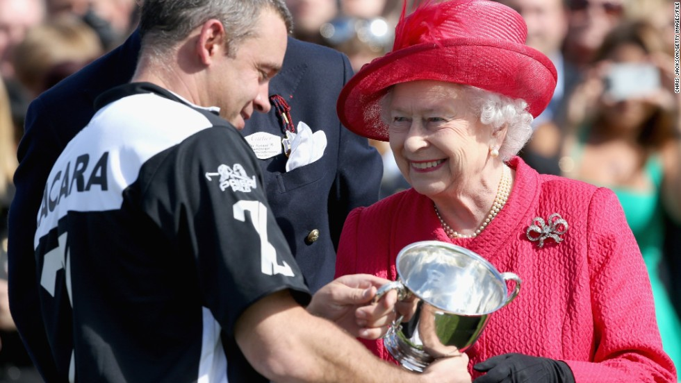 Queen Elizabeth II always presents the prizes at the Cartier Queen's Cup at Guards Polo Club near Windsor. The British Royal family are great supporters of equestrian events.