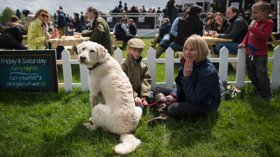 "Spectators at this year's Badminton Horse Trials enjoy a bite to eat during the six day event in Gloucestershire in the west of England. ""At most horse trials it's a burger van, a sit-down tea or anything like that,"" says Noel. ""There isn't any particular etiquette."""