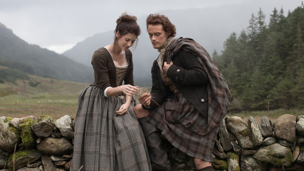 "The much-anticipated series ""Outlander"" returns on Starz in April. Based on Diana Gabaldon's best-selling books, the story follows WWII combat nurse Claire Randall (Caitriona Balfe), who travels back in time to 1743 and encounters Scottish warrior Jamie Fraser (Sam Heughan)."