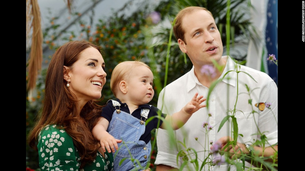Prince George and his parents celebrate his first birthday at a butterfly exhibition at the Natural History Museum in London on July 2.