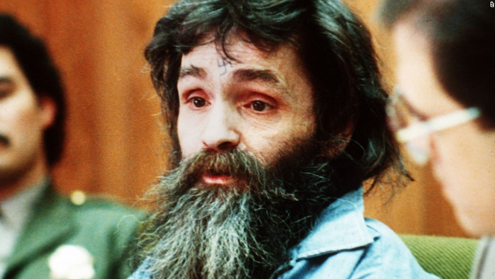 Manson is seen in court in 1986, during a parole hearing.  He was denied for the sixth time.