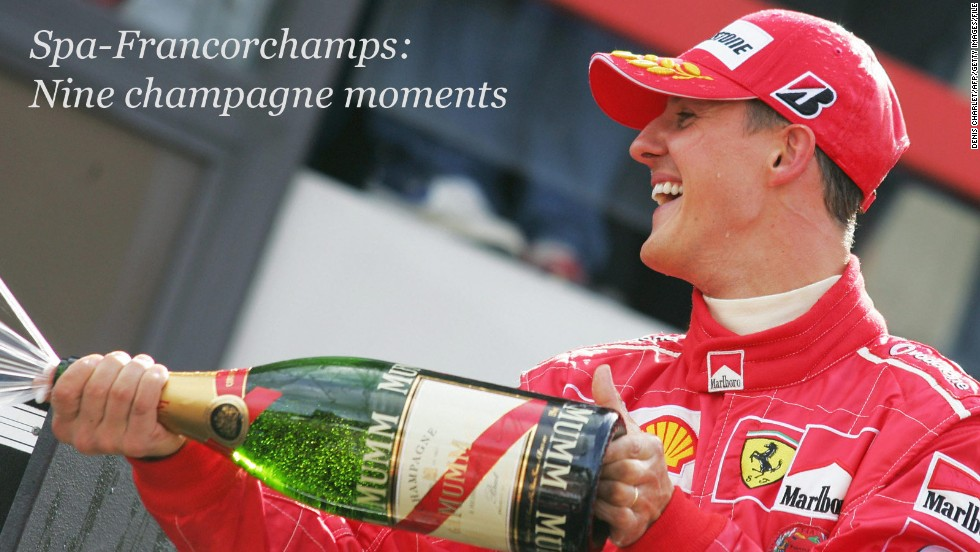 It's the moment every Formula One driver dreams of -- to stand victorious atop the podium with a bottle of bubbly in hand, ready to splash competitors and fans in celebration.<br /><br />The Belgian Grand Prix, which takes place at the Spa-Francorchamps circuit later this month, represents the closest the 2014 Formula One season will get to the Champagne region of France where the sparkling drink is produced.<br /><br />So what better excuse to take a look back at some of the legendary track's most iconic champagne moments?<br /><br />From Schumacher to Senna, from McLaren to Mercedes, there's a fizzing bottle full of marvelous Spa memories to choose from ...