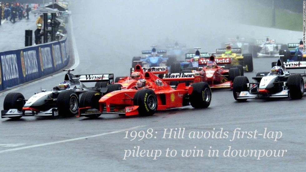 Heavy rain was the story of the 1998 Belgian Grand Prix at Spa, with the slippery conditions and low visibility leading to a huge 13-car crash at the first turn.<br /><br />The precipitation continued all day and only eight drivers finished the race, with Britain's Damon Hill claiming victory for Jordan -- the 1996 world champion's only win that season, and the last of his career.