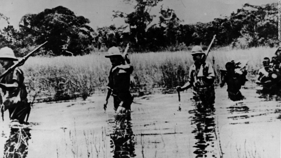 Allied troops in pursuit of von Lettow-Vorbeck in November 1918 when he was down to his last 1,300 men in Northern Rhodesia (now Zambia) in his attack on the Allied support lines.