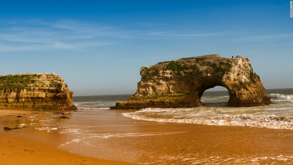 A natural bridge anchors this beach in Santa Cruz, California, but Natural Bridges State Beach is better known for its tide pools and seasonal monarch butterfly population.