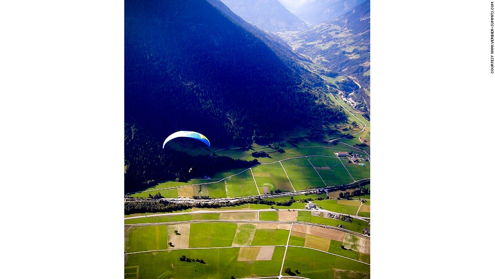 This is the stunning landscape viewed on takeoff from Verbier. Newbie pilots could be flying solo by the second day of their paragliding taster course.