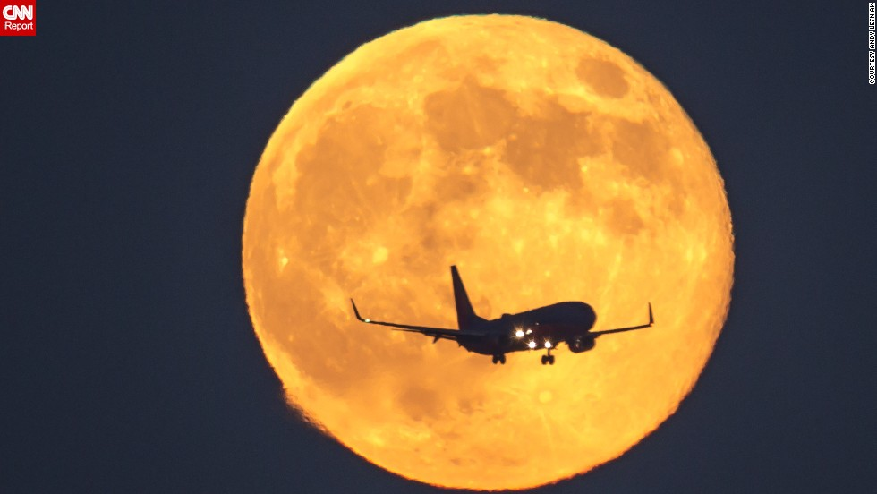 To coincide with this year's Mid-Autumn Festival on September 27, Chinese budget carrier Spring Airlines (not pictured) is operating 100 or so flights offering prized seats dedicated to moon-gazers. Andy Lesniak shot this photo of the supermoon in Los Angeles in 2014.