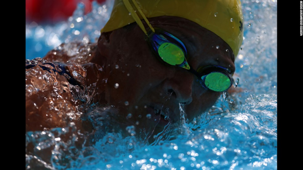 Canadian swimmer Louise Dufour competes in the 200-meter freestyle Tuesday, August 5, at the FINA World Masters Championships in Montreal.