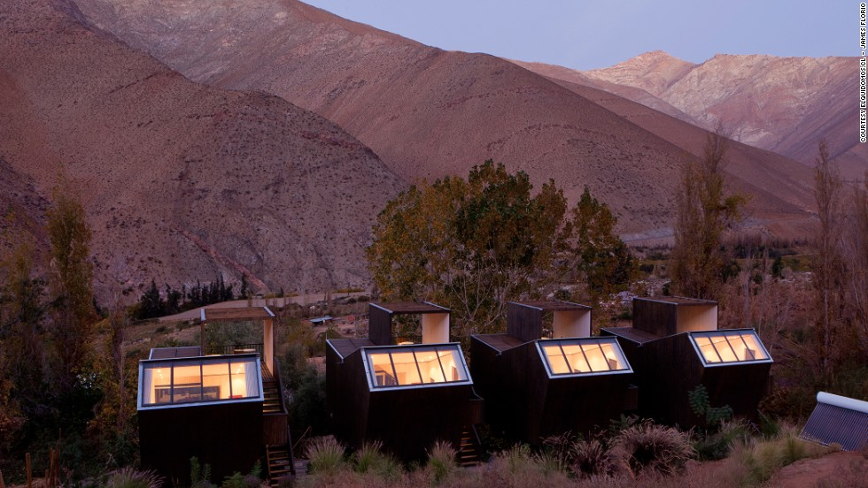 <em>Hotel Astronomico Elqui Domos, Chile</em><br /><br />This astronomers' dream-come-true can be found in the semi-arid grandeur of the Elqui Domos valley, which dips in between the Andes and La Cordillera de la Costa, and provides more than 300 clear days a year to stargaze.<br /><br />The specially designed observatory cabins allow visitors to observe the splendor of the constellations without leaving the comfort of their bed.
