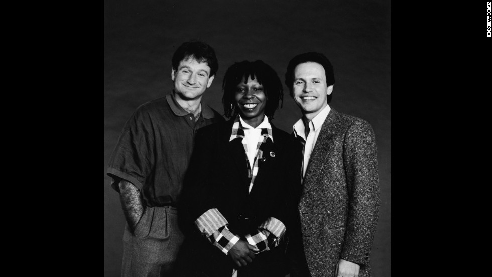 "Robin Williams was honored during 2014's Emmy telecast with a tribute led by friend Billy Crystal, who hosted the ""Comic Relief"" benefits with Williams and Whoopi Goldberg (seen here in 1986)."