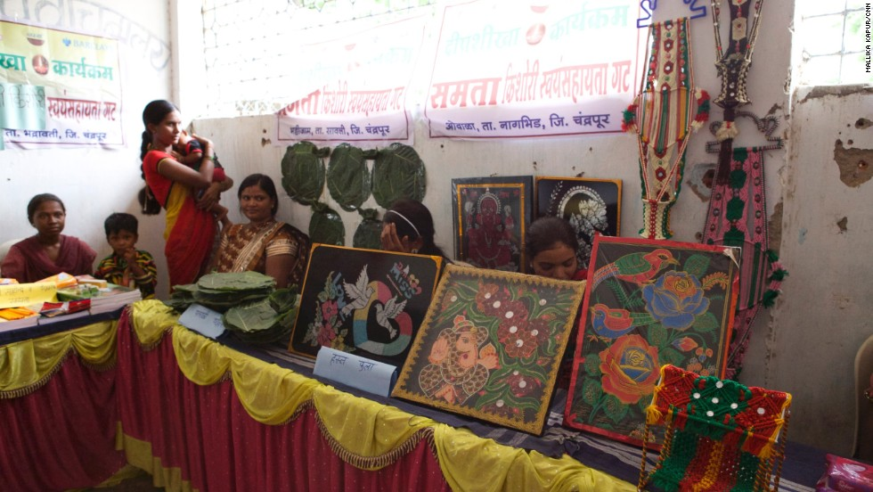 Some of the girls in Dongri hold a little bazaar to show their business skills -- some sell stationary, tapestries and purses, while others have started a business selling sanitary napkins in the village.