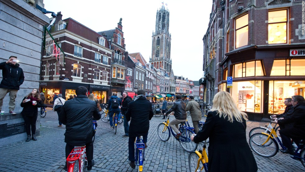 While Amsterdam is definitely bike friendly, it's also got hordes of tourists on rental bikes. Cycling in the Netherlands city of Utrecht is easier. Helmets are rarely used, not least because of protection offered by segregated cycle lanes.