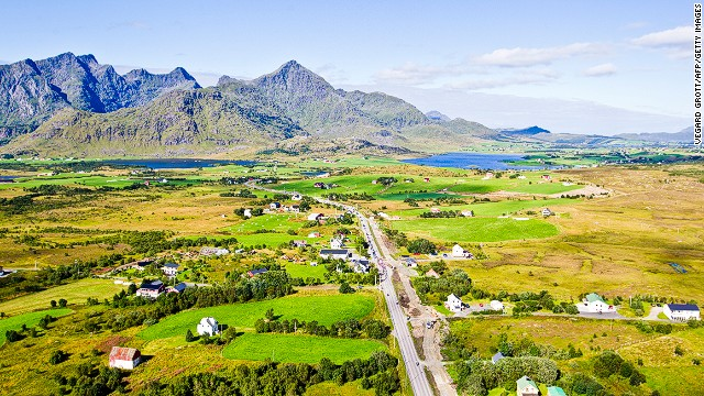 Aerial shot of the cyclists during the second stage of the Arctic Race of Norway on August 9, 2013 in Lofoten archipelago, Norway. AFP PHOTO / SCANPIX NORWAY / VEGARD GROTT NORWAY OUT (Photo credit should read VEGARD GROTT/AFP/Getty Images)