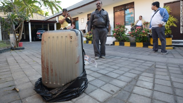 Caption:This photo taken on August 12, 2014 shows the suitcase where the body of a woman was found inside, displayed at a police station in Nusa Dua on the Indonesian resort island of Bali. A US tourist's battered body has been found in a suitcase at the exclusive hotel on Indonesia's resort island of Bali and her daughter and daughter's boyfriend have been arrested over the killing, police said on August 13, 2014. The body of Sheila von Wiese Mack was found on August 12 stuffed into a suitcase in the boot of a taxi in front of the five-star St. Regis hotel. AFP PHOTO / SONNY TUMBELAKA (Photo credit should read SONNY TUMBELAKA/AFP/Getty Images)