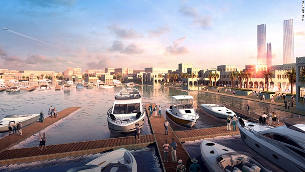 The city is being integrated with the surrounding Gulf via man-made islands, canals, marinas and other water features.