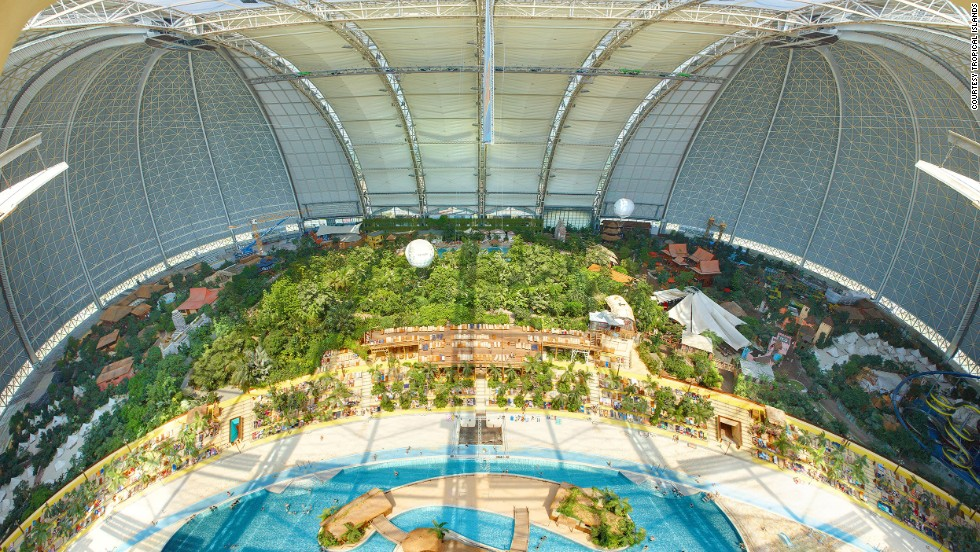 In Krausnick, Germany, the Asian-themed Tropical Islands indoor water park is in a huge hangar originally built to manufacture airships. In winter, visitors bask on a tropical beach beneath the snow-covered roof.