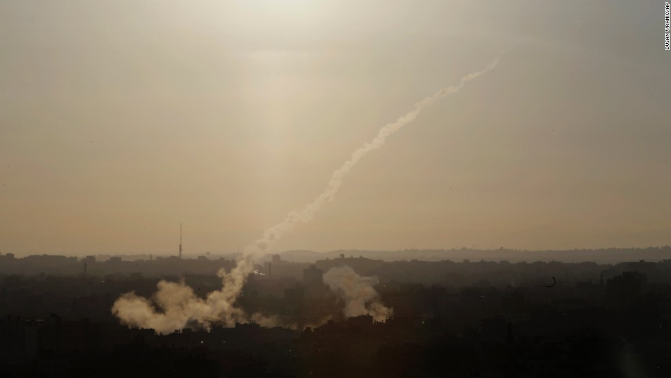 "A rocket is fired from Gaza City toward Israel on Saturday, August 9. Israel <a href=""http://www.cnn.com/2014/07/18/world/gallery/israel-gaza/index.html"">launched a ground operation in Gaza</a> last month after a 10-day campaign of airstrikes failed to relentless rocket fire from Hamas, the Islamic militant group and political party that controls Gaza."