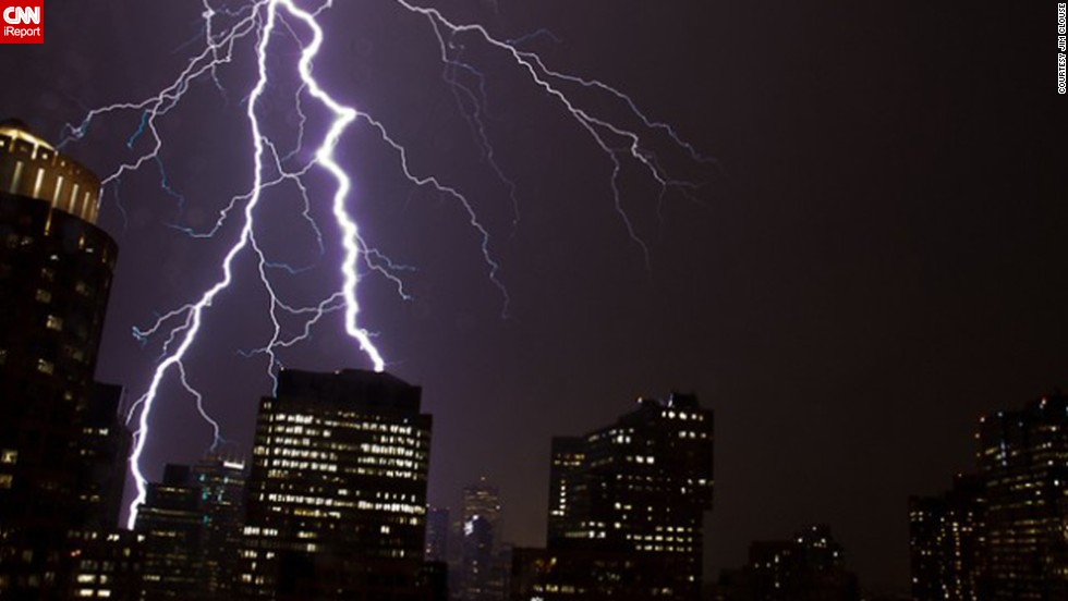 """'As the storm neared, the lightning intensified, lighting up the sky nearly once a second,"" said <a href=""http://ireport.cnn.com/docs/DOC-616745"">Jim Clouse</a>, who witnessed lightning striking downtown Boston in June 2011."