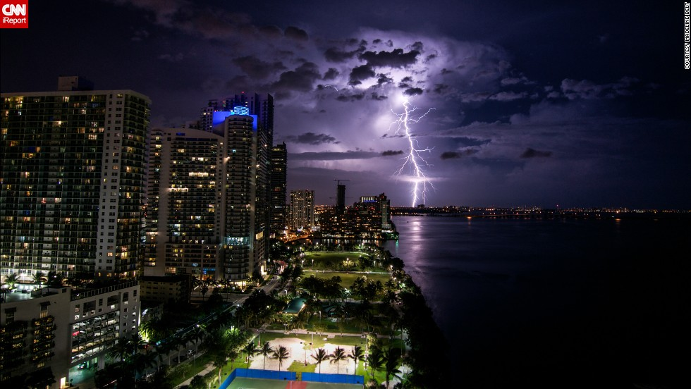 """I was really surprised I was able to capture a lightning strike like this,"" said <a href=""http://ireport.cnn.com/docs/DOC-1149081"">Madeline Belt</a>, who shot this photo off Biscayne Bay in Miami in June. The storm would later become Hurricane Arthur."
