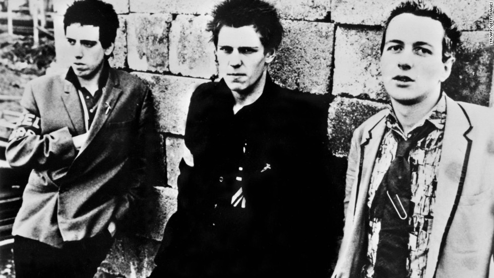 """London Calling"" - The Clash, Joe Strummer, right, with band members Mick Jones, left, and Paul Simonon pictured here in 1978, played a major role in the history of punk music:"