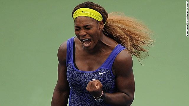 Serena Williams celebrates during her match against Caroline Wozniacki on day 8 of the Cincinnati Masters in Ohio.