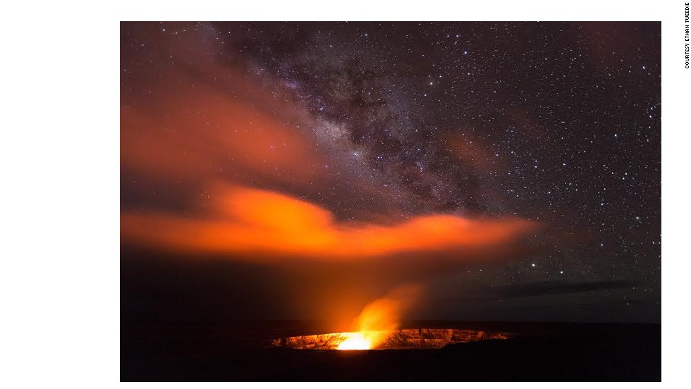 "Standing proud at 4,200 feet, Kilauea's ""lava lake reflects its fiery colors onto the plume and into the night sky, creating an amazing glow show,"" says Eric Leifer, tour guide at KapohoKine Adventures and a National Geographic explorer."