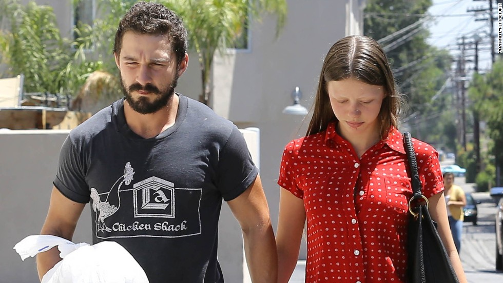 Shia LaBeouf and girlfriend Mia Goth grab Mexican food to go in Sherman Oaks, California on August 18.
