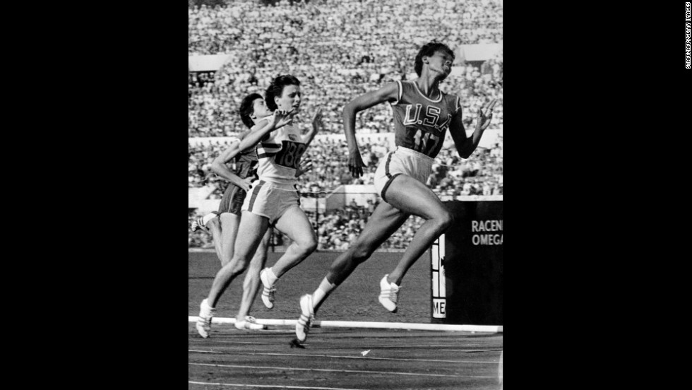 Sprinter Wilma Rudolph was the first U.S. woman to win three gold medals in one Olympics, during the 1960 Games in Rome.