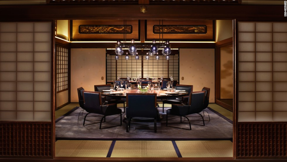 The private dining room inside Ritz-Carlton, Kyoto's Italian restaurant La Locanda is part of an actual townhouse. Once owned by Denzaburi Fujitia, founder of the Fujita industrial group, designers reassembled it inside the restaurant.