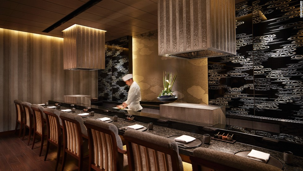 The tempura station at Ritz-Carlton, Kyoto's Mizuki restaurant, which also specializes in sushi, teppanyaki and kaiseki (Japanese traditional haute cuisine).