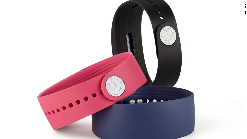 Barclaycard's bPay wristband is a wearable contactless payment device that allows users to make purchases for items costing up to £20. It can be used at more than 300,000 locations across the UK, including in shops, bars, cafes and on public transport.