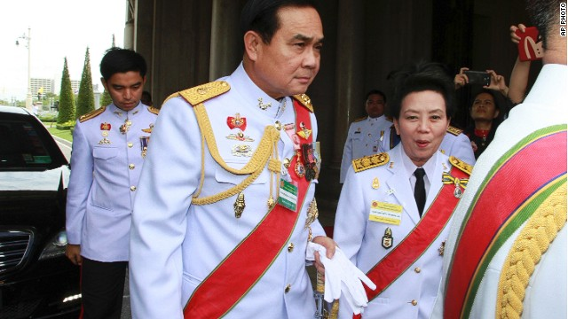 Thailand's new prime minister General Prayuth Chan-ocha arrives at the old Parliament building in Bangkok last month.