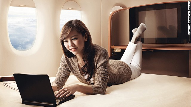 No need to worry about elbow room when flying Singapore Airlines first-class.