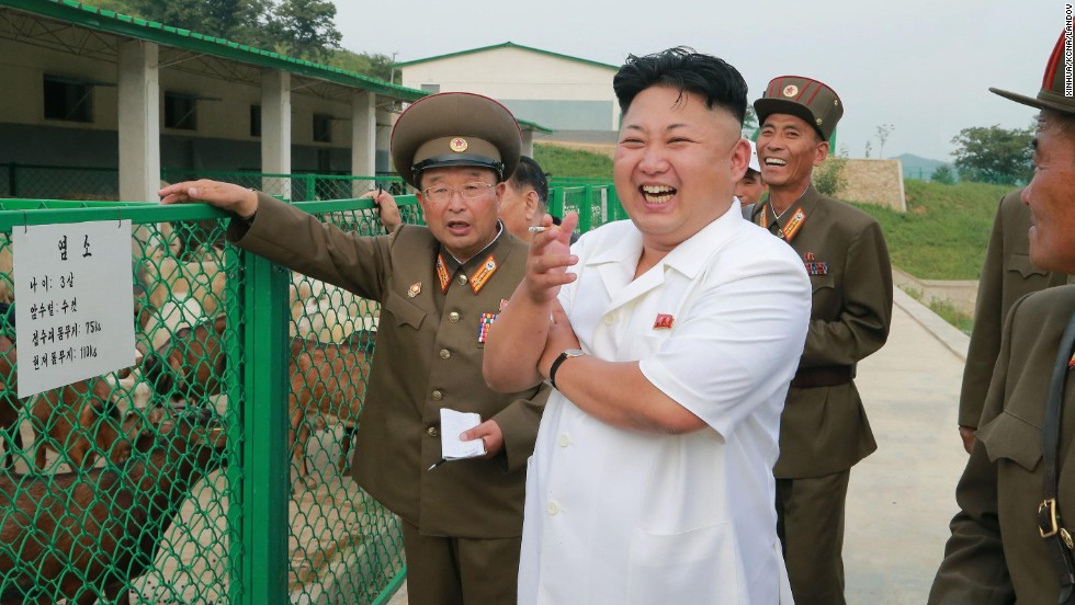 In this photo provided by the state-run Korean Central News Agency on Thursday, August 21, North Korean leader Kim Jong Un visits an animal breeding station run by the army in Pyongyang, North Korea's capital.