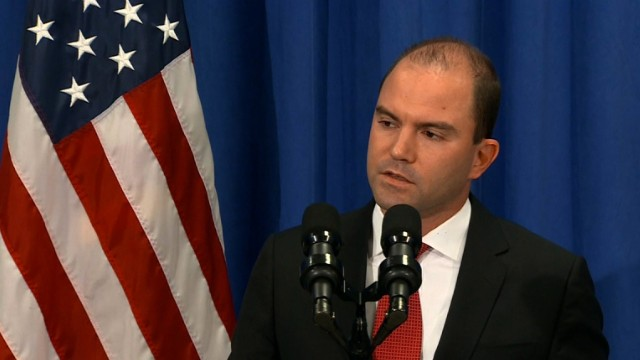 Ben Rhodes appears at the White House in August.