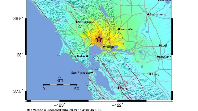 This USGS image shows the intensity of the California earthquake August 24, 2014