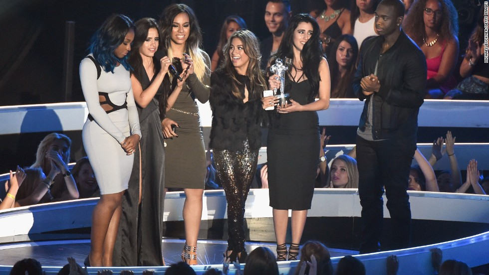 "Fifth Harmony (from left, Normani Hamilton, Camila Cabello, Dinah Jane Hansen, Ally Brooke and Lauren Jauregui) wins artist to watch award for ""Miss Movin' On."""